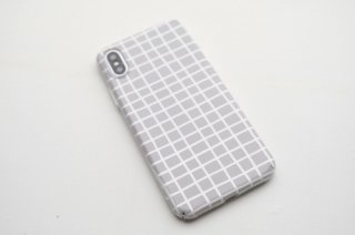 【ネコポス送料無料】DESSI DESIGNS | CROSS STRIPES / GRID (light grey) | iPhone XRケース