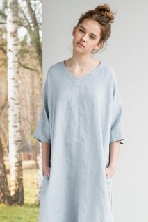 not PERFECT LINEN | washed linen KIMONO tunic (ice grey) | 着丈95cm