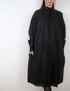 the last flower of the afternoon   静かな夜 shirt dress (black)   ワンピース