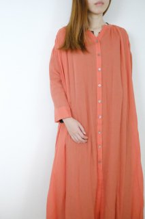 MB | Ultrathin Ramie Front open dress (coral) | ワンピース