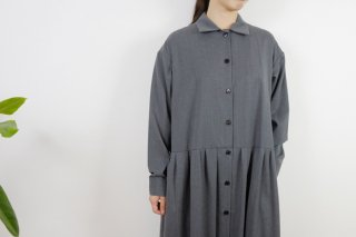 STAMP AND DIARY | シャツカラーウエスト切替ワンピース (gray) | ワンピース