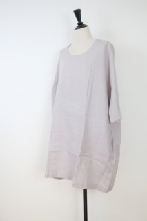 not PERFECT LINEN | washed linen KIMONO tunic (ashes of rose / round neck) | 着丈90cm