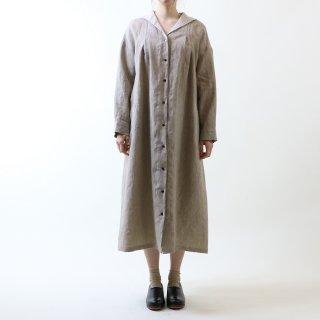 MAGALI   オーバーダイリネン・セーラー襟ワンピース (beige stripe)   ワンピース