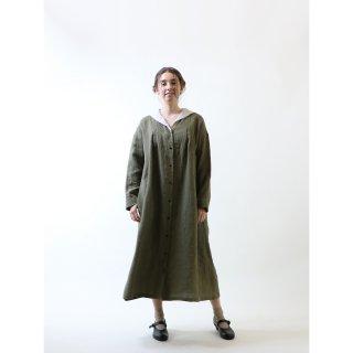 MAGALI   オーバーダイリネン・セーラー襟ワンピース (khaki stripe)   ワンピース