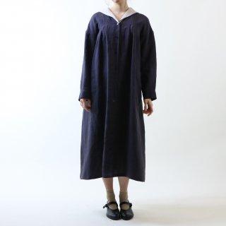 MAGALI   オーバーダイリネン・セーラー襟ワンピース (charcoal stripe)   ワンピース