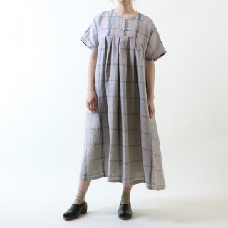 MAGALI   強撚チェックリネン・ワンピース (blue x grey)   ワンピース