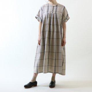 MAGALI   強撚チェックリネン・ワンピース (black x beige)   ワンピース