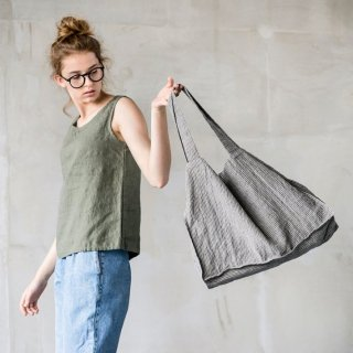 【ネコポス送料無料】not PERFECT LINEN | LARGE LINEN TOTE BAG (stripes) | トートバッグ