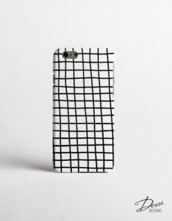 【ネコポス送料無料】DESSI DESIGNS | CROSS STRIPES / GRID (white) | iPhone 6ケース