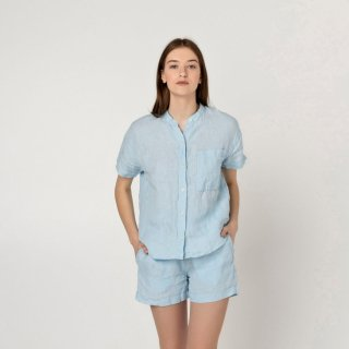 two LINEN | Linen top and shorts pajamas【リネン 麻 ナチュラル パジャマ ナイトウェア】