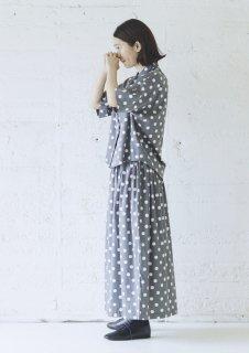 Cion   コットンレーヨンドットスカート (グレー)   ボトムス【ロングスカート かわいい 水玉 レーヨン】