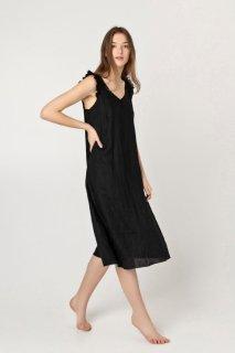 two LINEN   Sleeveless summer dress (black)【リネン 麻 ナチュラル ワンピース】