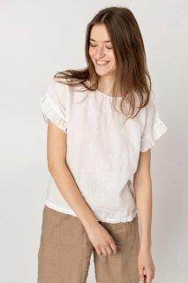 【ネコポス送料無料】two LINEN   Loose fit linen blouse【リネン 麻 ナチュラル ブラウス】