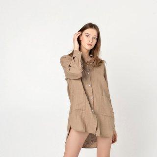 two LINEN   Oversized linen shirt【リネン 麻 ナチュラル ブラウス】