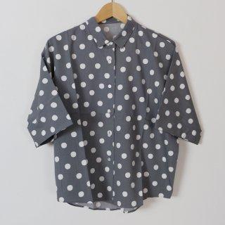 Cion   コットンレーヨンドットシャツ (グレー)   トップス【送料無料 半袖 コットン 水玉】