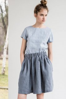 not PERFECT LINEN | Short linen skirt BARI with wide elastic waistband (dark grey)