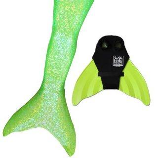 マーメイドテール&モノフィンセット Lime Green Sparkle 018