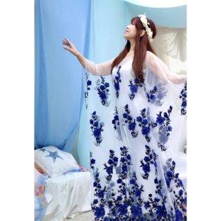 ベリーダンスドレス White&Blue 034001