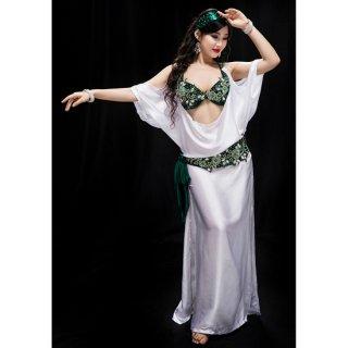 ベリーダンスドレス White + Green 040001
