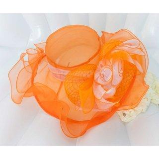 フラワーヘブンリーハット オレンジ&ホワイト 014