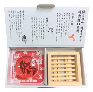 成田山表参道 さぼんさま〈鶴・檜石鹸置きセット〉薔薇と苺の香り