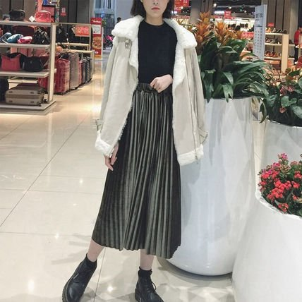 ベロア 大人 かわいい プリーツ スカート 6色
