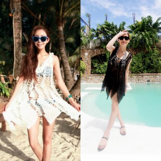 ボヘミアン クロシェ ニット 体型 カバー 人気 大人 夏 リゾート プール ビーチ アイテム ホワイト ブラック