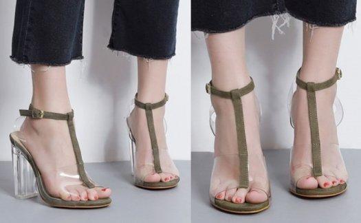 シースルー デザイン アンクル ストラップ フェミニン おしゃれ エレガント クリアヒール 履きやすい サンダル