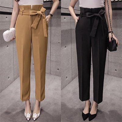 リボン付き ハイウエスト センタープレス きれいめ タック テーパード アンクル パンツ ブラック ブラウン 2色
