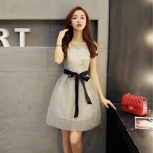 オーガンジー ノースリーブ シースルー ウエストリボン Aライン ミニ ワンピース ドレス 2色