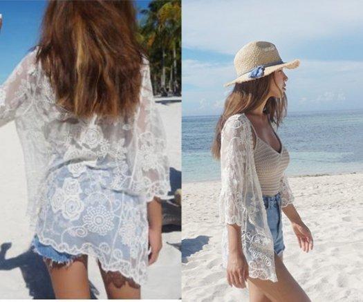 透け感 大人可愛い 花柄 レース刺繍 シースルー 七分袖 ホワイト カバーアップ カーディガン 夏 海 リゾート ビーチ