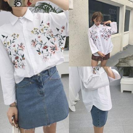 【即納】フラワー 花柄 刺繍 シャツ 白 カジュアル ミディアム