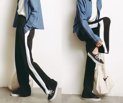 大人カジュアル 今季トレンド サイドラインパンツ ロングパンツ カジュアルスタイル ブラック ゆるかわファッション