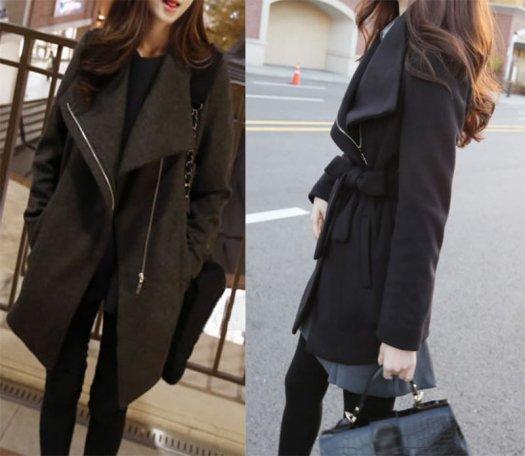 トレンド感upのビックカラー ガウンコート 2色 オーバーサイズ ブラック グレー エレガントスタイル お呼ばれコーデ