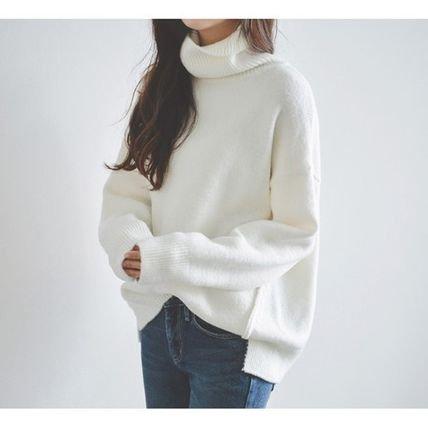 ゆったり フィット シンプル 使いやすい タートルニット 白 ホワイト セーター 無地 秋冬
