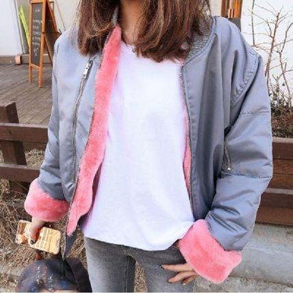【2色】MA-1 ブルゾン 裏ボア ツートンカラー ファー袖 グレー ブラック 秋冬