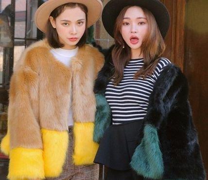 【2色】バイカラー フェイクファー ショートコート ジャケット ブラウン ブラック 秋冬