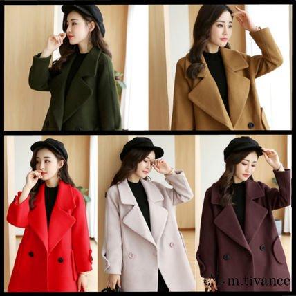 【5色】ベーシック 秋冬 シンプル ショート丈 コート ジャケット チェスターコート 緑 茶 赤 紫 白