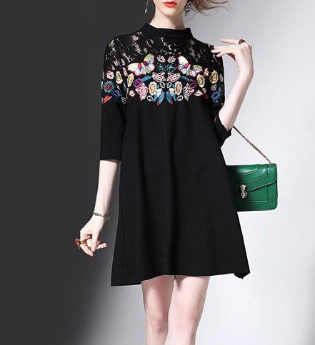 ちょうちょ柄 刺繍 レース 切り替えドレス ワンピース 黒 Aライン 七分丈 ミディアム エレガント