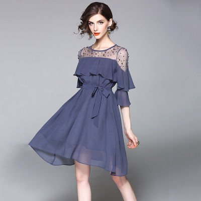 シフォン 切替 上品 結婚式 二次会 お呼ばれ ショート丈 ドレス