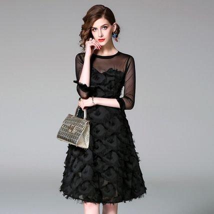 異素材ミックス 7分袖 上品 スリム 結婚式 お呼ばれ 二次会 ドレス