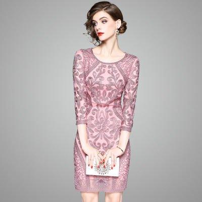 刺繍 7分袖タイト ショート丈 上品 結婚式 二次会 お呼ばれ ドレス