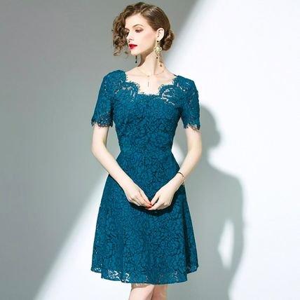 総レース 花柄 半袖 スリム Aライン 結婚式 お呼ばれ ドレス 全2色