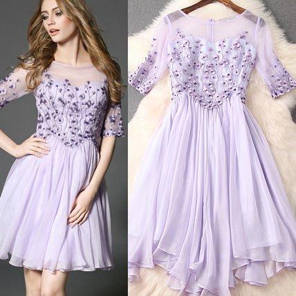 お花  刺繍 ビジュー キュート 結婚式 パーティー ドレス 全2色