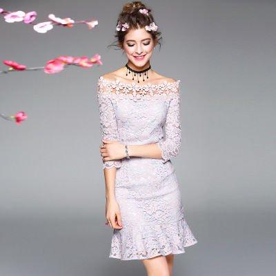 レース 花柄 7分袖 フレア キュート 二次会 結婚式 ドレス 全2色