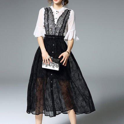 シースルー バイカラー シフォン キュート ロング ワンピース ドレス