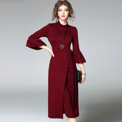 7分袖 モノカラー スリム ロングワンピース ラップドレス 全2色