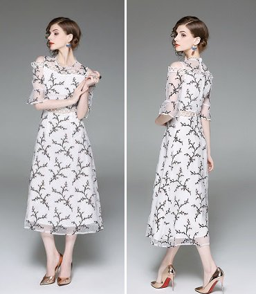 花柄 刺繍 半袖 キュート 上品 パーティー ロング ラップドレス