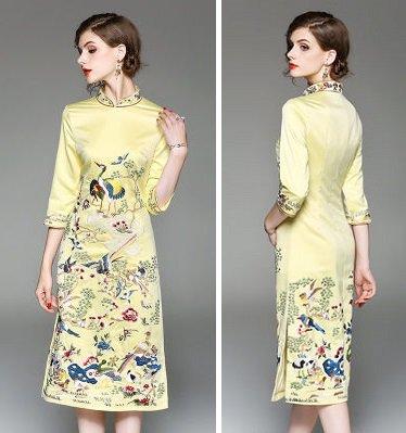 刺繍 チャイナドレス風 7分袖 タイト ミディアム 結婚式 ワンピース