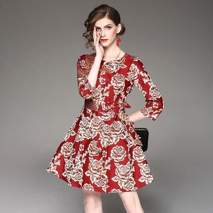 ジャカード お花 リボン 7分袖 ショート丈 結婚式 お呼ばれ ドレス